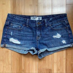 VS Pink Distressed Denim Cuffed Shorts Size 6